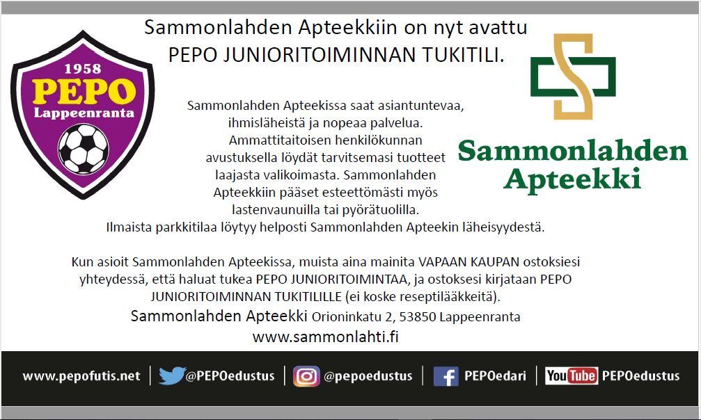 Sammonlahden Apteekkiin avattu PEPO n junioritoiminnan tukitili ... ad7cb351d1